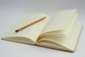 open journal book with pencil