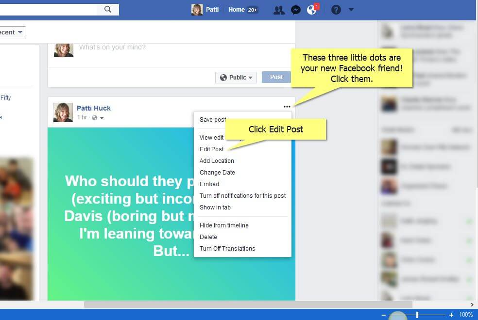 Click on the Edit Post option-how to edit your status on Facebook